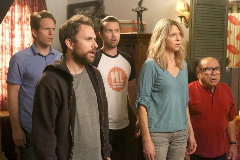 "IT'S ALWAYS SUNNY IN PHILADELPHIA Season 12 premiere ""The Gang Turns Black"" Glenn Howerton as Dennis, Charlie Day as Charlie, Rob McElhenney as Mac, Kaitlin Olson as Dee, Danny DeVito as Frank"