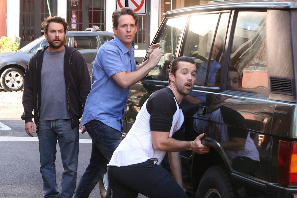 "IT'S ALWAYS SUNNY IN PHILADELPHIA Season 12 ""The Gang Turns Black"" Charlie Day as Charlie, Glenn Howerton as Dennis, Rob McElhenney as Mac"