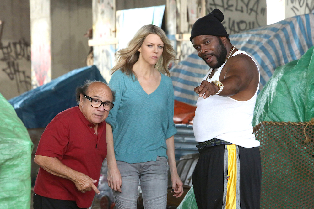 "It's Always Sunny in Philadelphia ""The Gang Turns Black"" Danny DeVito as Frank, Kaitlin Olson as Dee, Chad Coleman as Z."