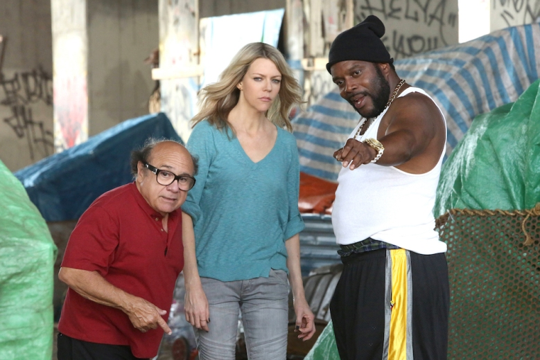 """It's Always Sunny in Philadelphia """"The Gang Turns Black"""" Danny DeVito as Frank, Kaitlin Olson as Dee, Chad Coleman as Z."""
