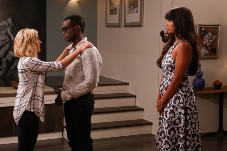 "THE GOOD PLACE -- ""Michael's Gambit"" Episode 113 -- Pictured: (l-r) Kristen Bell as Eleanor Shellstrop, William Jackson Harper as Chidi Anagonye, Jameela Jamil as Tahani Al-Jamil -- (Photo by: Vivian Zink/NBC)"