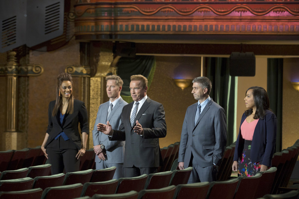 """THE NEW CELEBRITY APPRENTICE -- """"In Here You Call Me Governor"""" Episode 1501 -- Pictured: (l-r) Tyra Banks, Patrick Knapp Schwarzenegger, Arnold Schwarzenegger, Trident Executives John Ghingo, Katie Williams"""