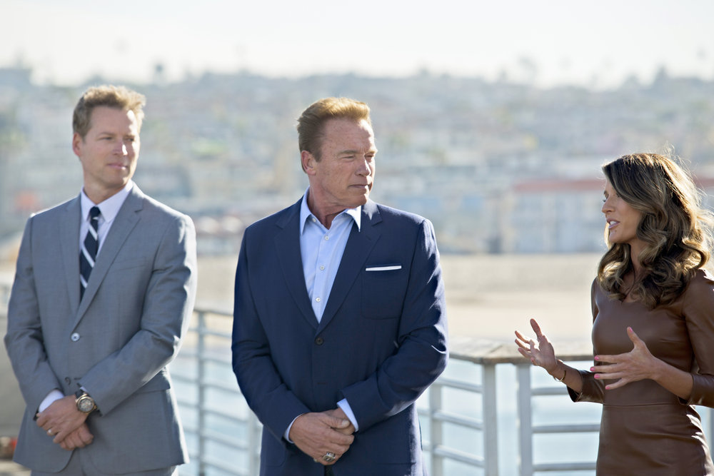 "THE NEW CELEBRITY APPRENTICE -- ""Scissors And Some Creativity"" Episode 1507 -- Pictured: (l-r) Patrick Knapp Schwarzenegger, Arnold Schwarzenegger, Lorissa's Kitchen Executive Lorissa"