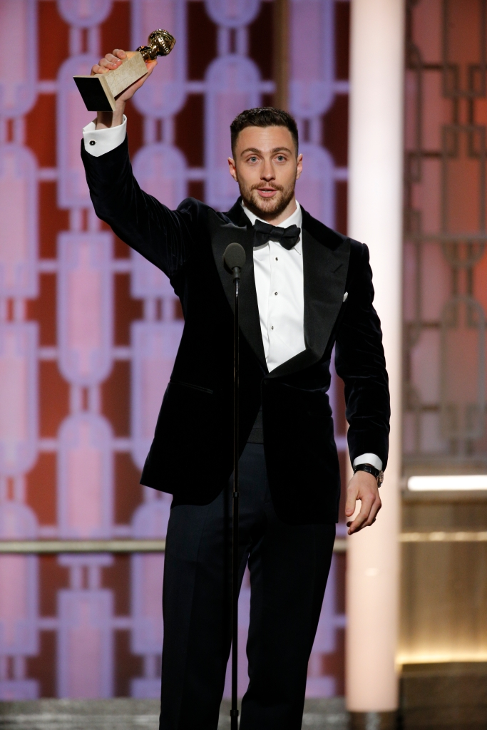 74th ANNUAL GOLDEN GLOBE AWARDS -- Pictured: Aaron Taylor-Johnson, Winner, Best Supporting Actor - In A Motion Picture, at the 74th Annual Golden Globe Awards held at the Beverly Hilton Hotel on January 8, 2017 -- (Photo by: Paul Drinkwater/NBC)
