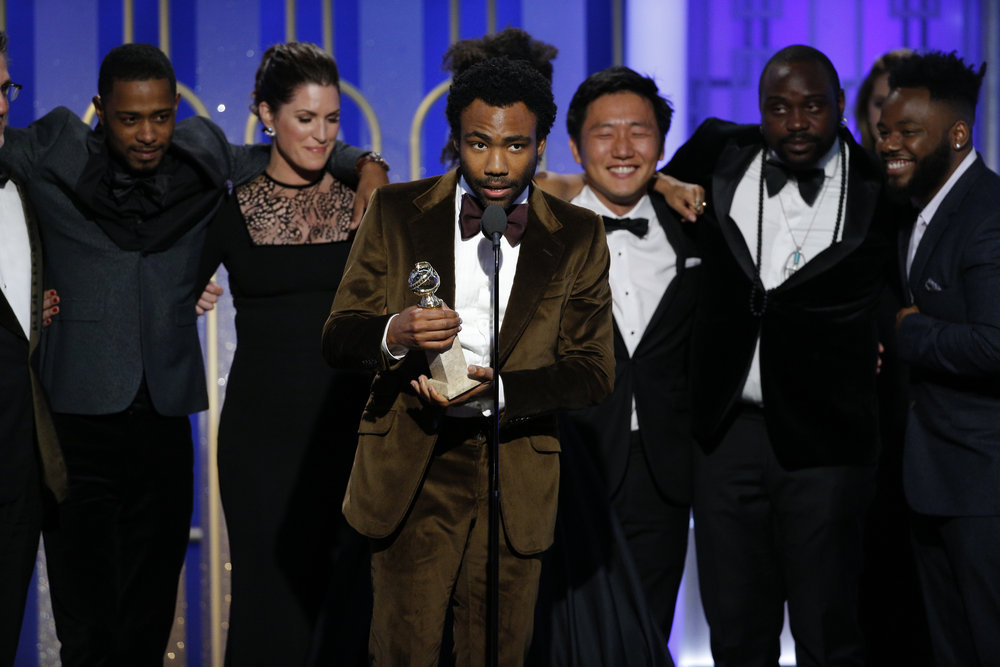 "74th Annual Golden Globe Awards Donald Glover, Creator, Executive Producer, Star, ""Atlanta"", accepting the award for Best Television Series"