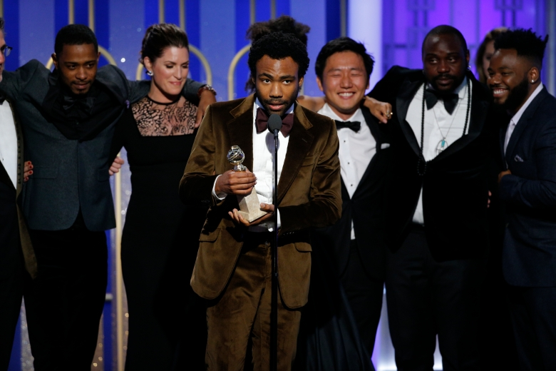 "74th ANNUAL GOLDEN GLOBE AWARDS -- Pictured: Donald Glover, Creator, Executive Producer, Star, ""Atlanta"", accepting the award for Best Television Series - Musical or Comedy, at the 74th Annual Golden Globe Awards held at the Beverly Hilton Hotel on January 8, 2017 -- (Photo by: Paul Drinkwater/NBC)"