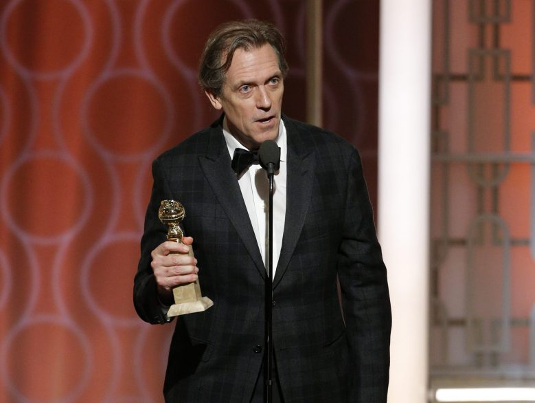 74th ANNUAL GOLDEN GLOBE AWARDS -- Pictured: Hugh Laurie, Winner, Best Supporting Actor - Series/Limited Series/TV Movie, at the 74th Annual Golden Globe Awards held at the Beverly Hilton Hotel on January 8, 2017 -- (Photo by: Paul Drinkwater/NBC)