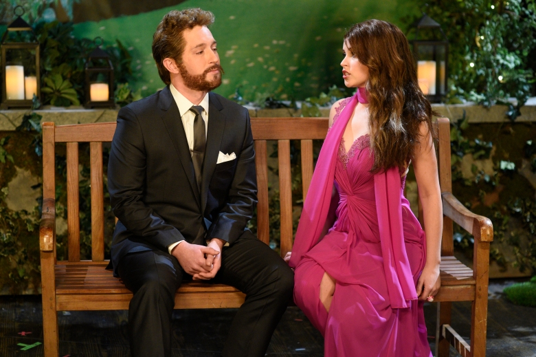 "SATURDAY NIGHT LIVE -- ""Felicity Jones"" Episode 1715 -- Pictured: (l-r) Beck Bennett and host Felicity Jones during the Beard Hunk sketch on January 14th, 2017 -- (Photo by: Will Heath/NBC)"