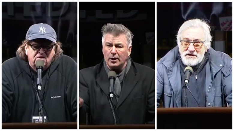 Michael Moore, Alec Baldwin and Robert De Niro