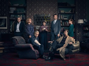 Sherlock, Season 4 Sundays, January 1 - 15, 2017 on MASTERPIECE Mystery! on PBS Picture shows: D.I. Lestrade (RUPERT GRAVES), Mary Watson (AMANDA ABBINGTON), John Watson (MARTIN FREEMAN), Mrs Hudson (UNA STUBBS), Mycroft Holmes (MARK GATISS), Sherlock Holmes (BENEDICT CUMBERBATCH) and Molly Hooper (LOUISE BREALEY). Courtesy of Todd Antony/Hartswood Films 2016 for MASTERPIECE