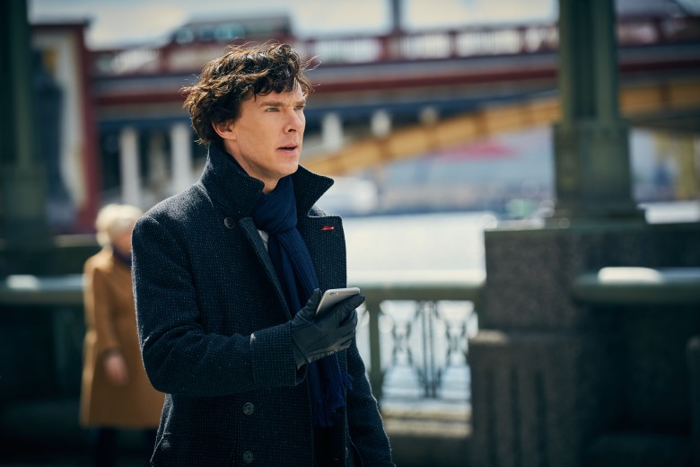 Sherlock, Season 4 Sundays January 1 - 15 On MASTERPIECE Mystery! on PBS  Picture shows: Sherlock Holmes (BENEDICT CUMBERBATCH)  For editorial use only. Not for use on social media.  Courtesy of Hartswood Films & MASTERPIECE