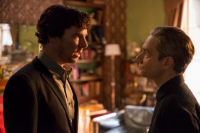 "Sherlock, Season 4 ""The Lying Detective"" Sunday, January 8, 2017 at 9pm ET on MASTERPIECE on PBS Picture shows: Sherlock Holmes (BENEDICT CUMBERBATCH), John Watson (MARTIN FREEMAN) Photo courtesy of Collin Hutton/Hartswood Films & MASTERPIECE For editorial use only. Not for use on social media."