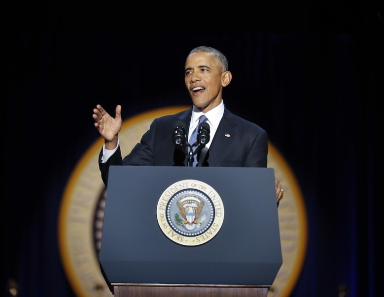 Barack Obama, Michelle Obama, Malia Obama President Barack Obama speaks during his farewell address at McCormick Place in Chicago Obama, Chicago, USA - 10 Jan 2017