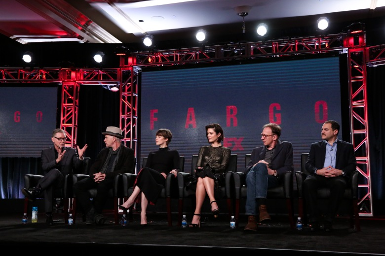 Mandatory Credit: Photo by Buchan/Variety/REX/Shutterstock (7820625s) Warren Littlefield, Ewan McGregor, Carrie Coon, Mary Elizabeth Winstead, David Thewlis and Michael Stuhlbarg FX's 'Fargo' Panel, TCA Winter Press Tour, Los Angeles, USA - 12 Jan 2017