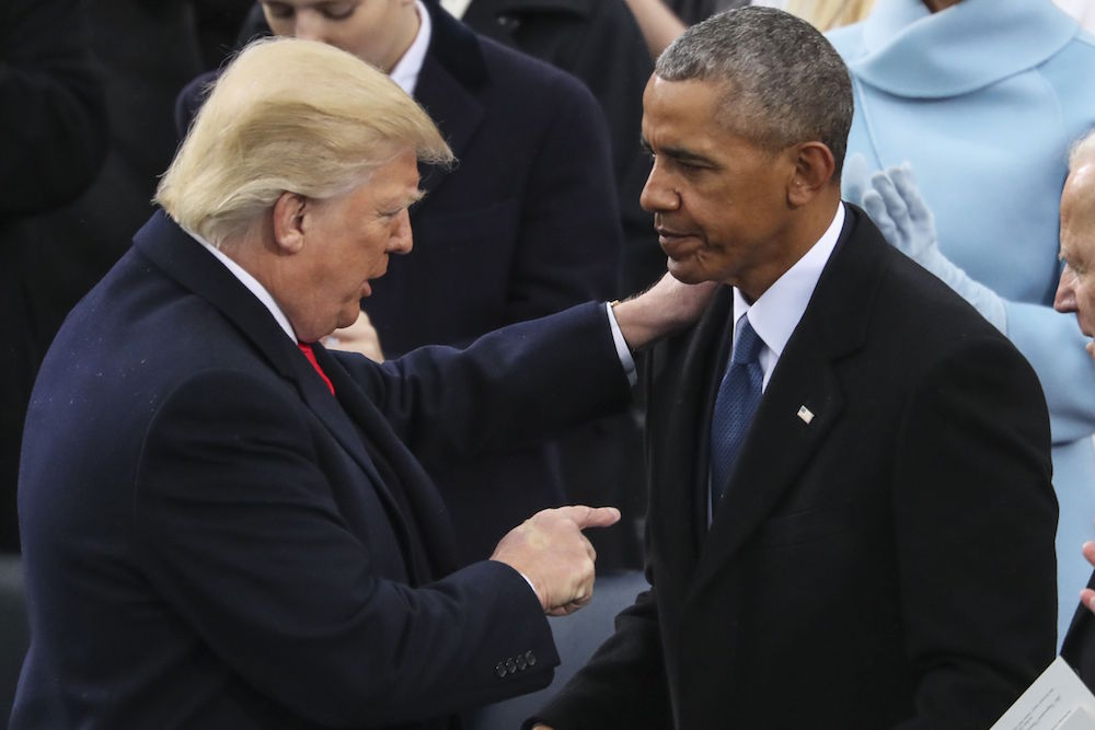 President Donald Trump points at Former President Barack Obama after his speech during the 58th Presidential Inauguration at the U.S. Capitol in WashingtonTrump Inauguration, Washington, USA - 20 Jan 2017