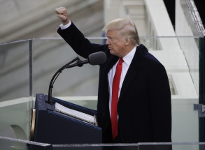 President Donald Trump pumps his fist after delivering his inaugural address after being sworn in as the 45th president of the United States during the 58th Presidential Inauguration at the U.S. Capitol in Washington Trump Inauguration, Washington, USA - 20 Jan 2017