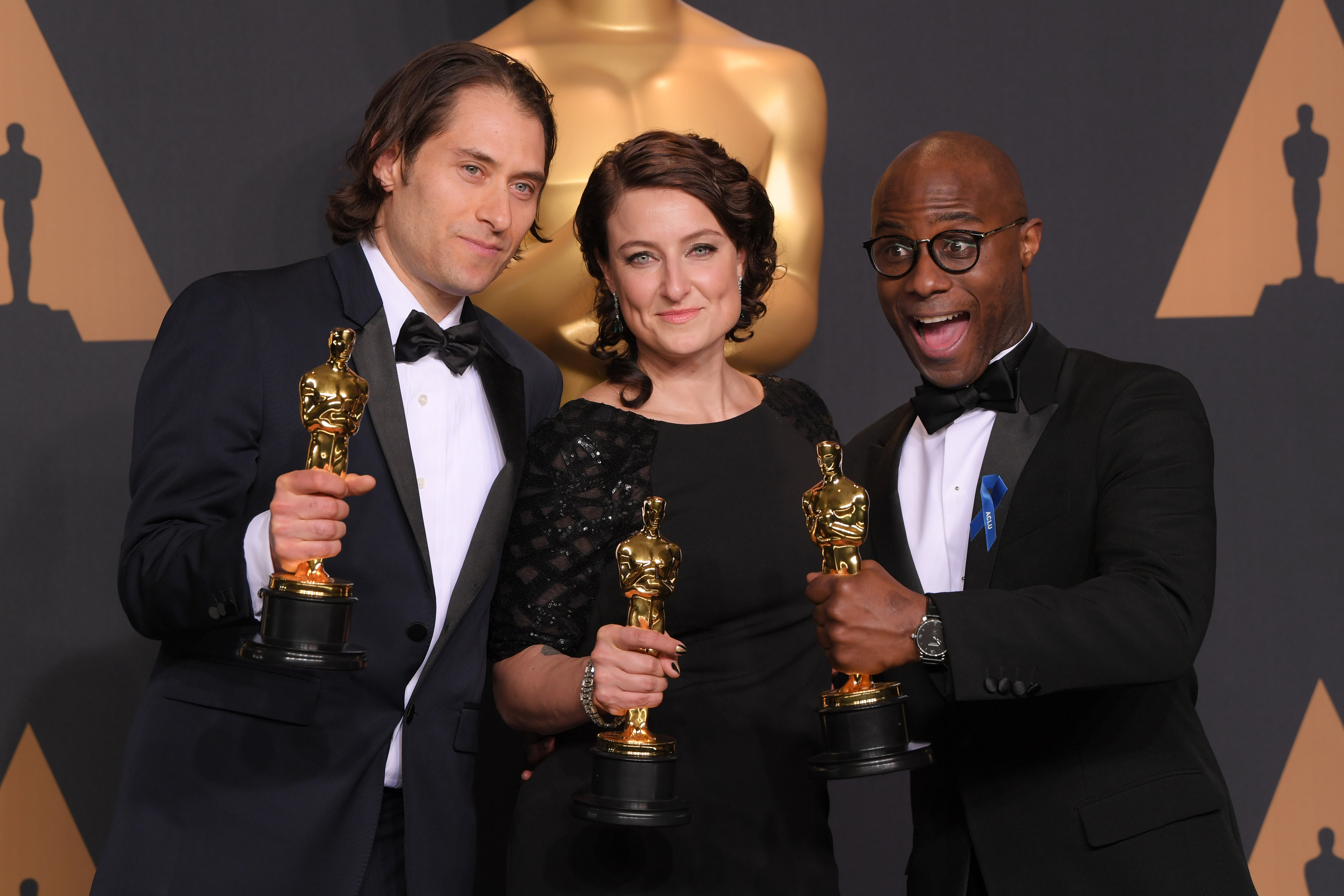Jeremy Kleiner, Adele Romanski and Barry Jenkins, oscars Academy Awards
