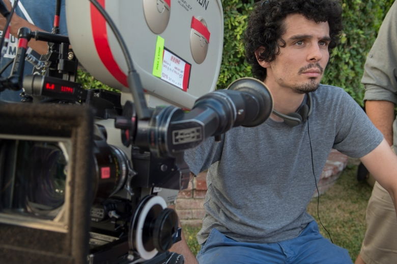 "Damien Chazelle on the set of ""La La Land"""