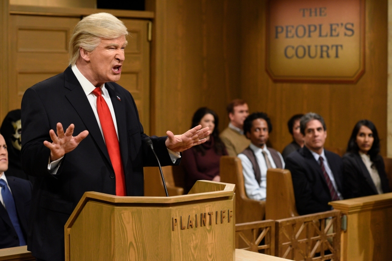 """SATURDAY NIGHT LIVE -- """"Alec Baldwin"""" Episode 1718 -- Pictured: Host Alec Baldwin as President Donald Trump during the """"Trump People's Court"""" sketch on February 11, 2017 -- (Photo by: Will Heath/NBC)"""