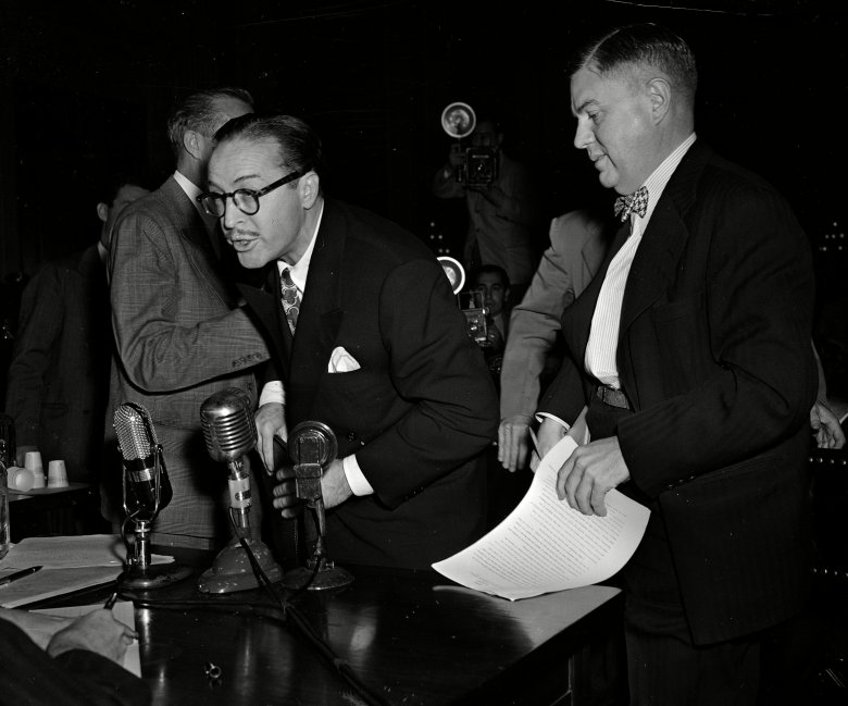 Dalton Trumbo shouting from the witness stand at the House Un-American Activities Committee