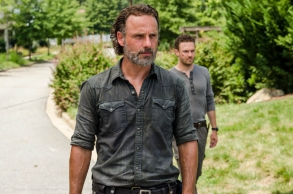 Andrew Lincoln as Rick Grimes, Ross Marquand as Aaron - The Walking Dead _ Season 7, Episode 9 - Photo Credit: Gene Page/AMC