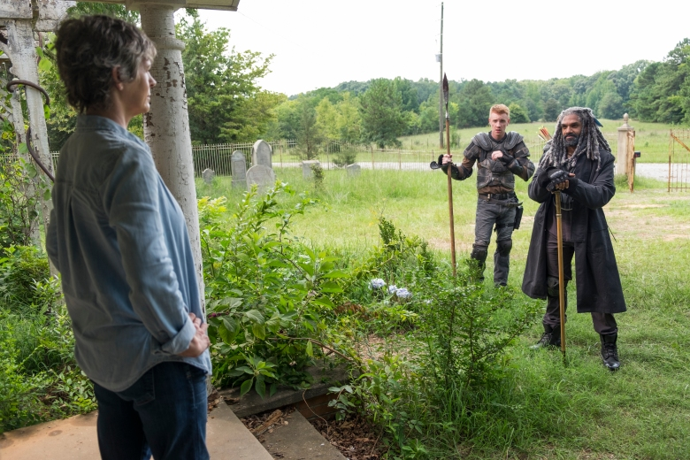 Melissa McBride as Carol Peletier, Daniel Newman - Daniel, Khary Payton as Ezekiel - The Walking Dead _ Season 7, Episode 10 - Photo Credit: Gene Page/AMC