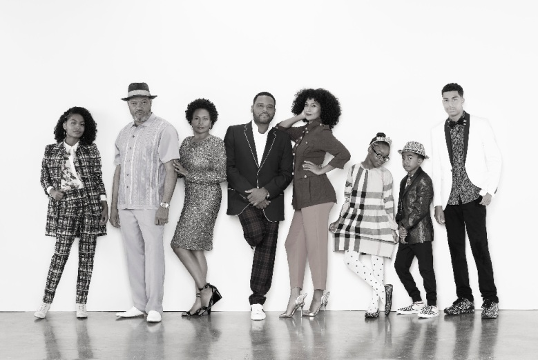 "BLACK-ISH - ABC's ""black-ish"" stars Yara Shahidi as Zoey Johnson, Laurence Fishburne as Pops Johnson, Jenifer Lewis as Ruby Johnson, Anthony Anderson as Andre ""Dre"" Johnson and Tracee Ellis Ross as Rainbow Johnson, Marsai Martin as Diane Johnson, Miles Brown as Jack Johnson and Marcus Scribner as Andre Johnson Jr. (ABC/Bob D'Amico)"