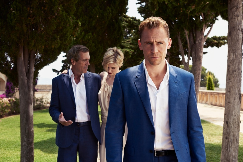 "Hugh Laurie, Elizabeth Debicki and Tom Hiddleston in ""The Night Manager"""