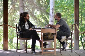 """Karim Ainouz and Mark Kindred work on """"Rogue"""" at the 2015 June Screenwriters Lab."""