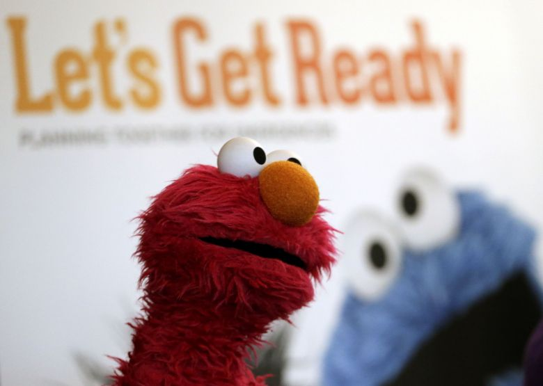 """Elmo attends a presentation during a visit by Sesame Street characters to Ironbound Community Corp Preschool, in East Rutherford, N.J. Sesame Workshop, the nonprofit organization behind Sesame Street, has partnered with Public Service Enterprise Group to develop """"Let's Get Ready: Planning Together for Emergencies"""" and """"Here For Each Other: Helping Families After Emergencies"""" emergency preparedness and response initiatives in English and Spanish. These apps will help families talk with their children about preparing and dealing with emergenciesEmergency Preparedness App, East Rutherford, USA"""