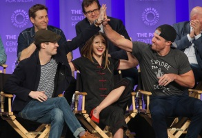 HOLLYWOOD, CA - MARCH 18: Grant Gustin and Melissa Benoist at PaleyFest LA 2017 honoring The CW's Heroes and Aliens, presented by The Paley Center for Media, at the DOLBY THEATRE on March 18, 2017 in Hollywood, California. © I