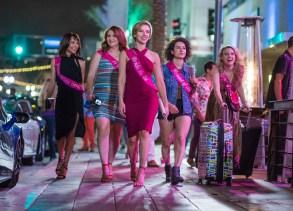 (L to R)  Blair (Zoë Kravitz), Alice (Jillian Bell), Jess (Scarlett Johansson), Frankie (Illana Grazer) and Pippa (Kate McKinnon) in Columbia Pictures' ROUGH NIGHT.
