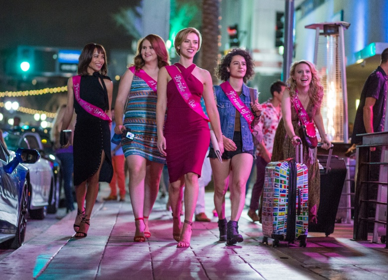 (L to R)  Blair (Zoë Kravitz), Alice (Jillian Bell), Jess (Scarlett Johansson), Frankie (Illana Grazer) and Pippa (Kate McKinnon) in Columbia Pictures' ROUGH NIGHT.