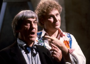 Patrick Troughton as the Second Doctor and Colin Baker as the Sixth Doctor