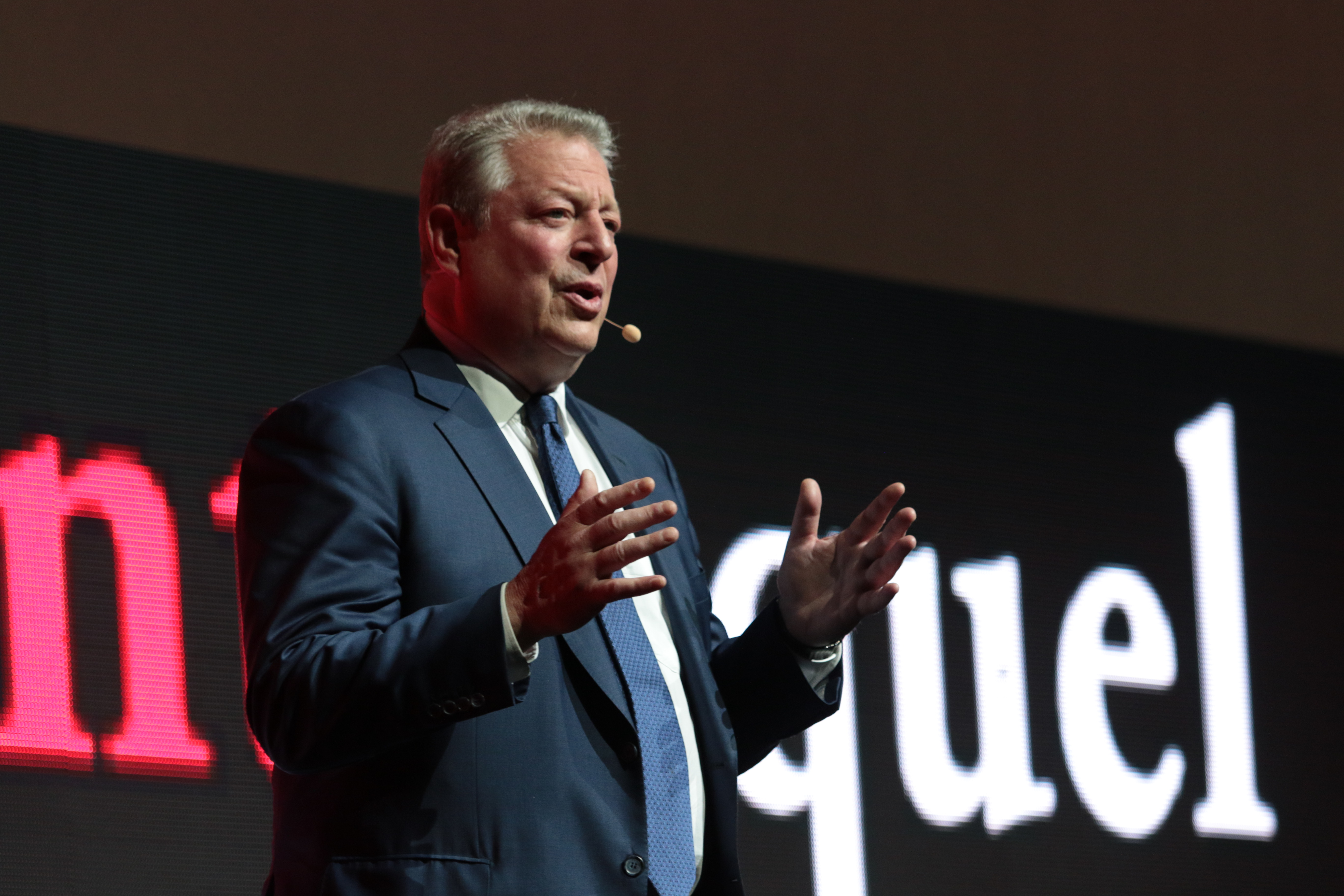Al Gore appears on stage as Paramount Pictures hosts Cinema Con 2017 film presentation at Caesars Palace in Las Vegas, Nevada on Tuesday, March 28, 2017. .(Photo: Alex J. Berliner/ABImages)