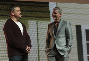 Matt Damon and George Clooney appear on stage as Paramount Pictures hosts Cinema Con 2017 film presentation at Caesars Palace in Las Vegas, Nevada on Tuesday, March 28, 2017. .(Photo: Alex J. Berliner/ABImages)