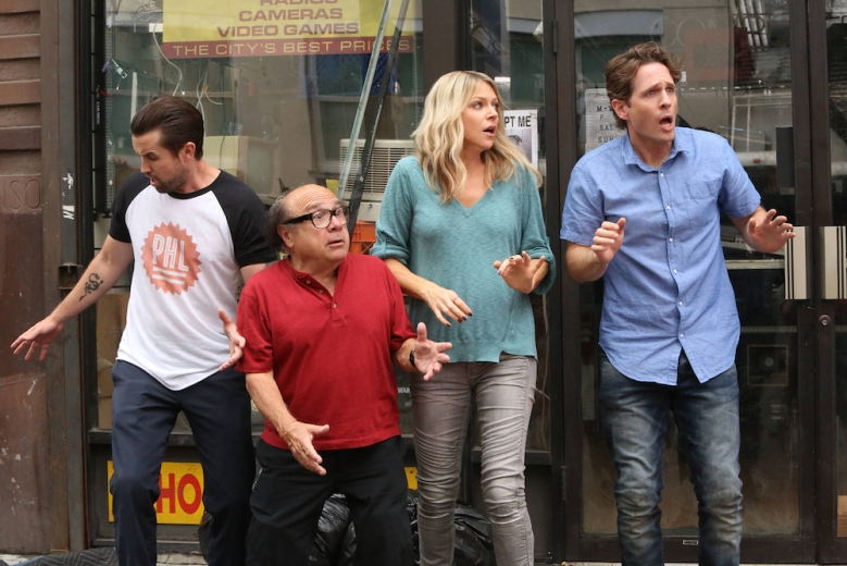 "IT'S ALWAYS SUNNY IN PHILADELPHIA -- ""The Gang Turns Black"" – Season 12, Episode 1 (Airs January 4, 10:00 pm e/p) Pictured: (l-r) Rob McElhenney as Mac, Danny DeVito as Frank, Kaitlin Olson as Dee, Glenn Howerton as Dennis. CR: Patrick McElhenney/FXX"