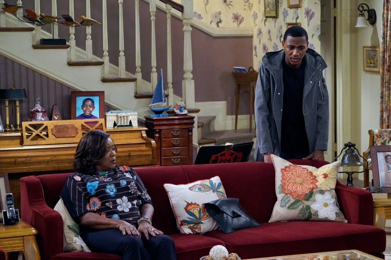 "THE CARMICHAEL SHOW -- ""New Neighbors"" Episode 207 -- Pictured: (l-r) Loretta Devine as Cynthia Carmichael, Jerrod Carmichael as Jerrod Carmichael -- (Photo by: Chris Haston/NBC)"