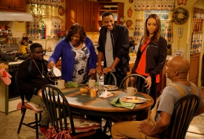 "THE CARMICHAEL SHOW -- ""Man's World"" Episode 210 -- Pictured: (l-r) Lil Rel Howery as Bobby Carmichael, Loretta Devine as Cynthia Carmichael, Jerrod Carmichael as Jerrod Carmichael, Amber Stevens West as Maxine, David Alan Grier as Joe Carmichael -- (Photo by: Chris Haston/NBC)"