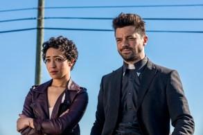 Dominic Cooper as Jesse Custer, Ruth Negga as Tulip O'Hare; group - Preacher _ Season 2, Episode 1 - Photo Credit: Skip Bolen/AMC