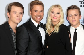 Rob Lowe and his wife Sheryl Berkoff, flanked by sons Matthew (left) and John Owen (right)