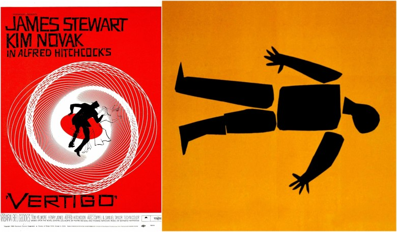 "Saul Bass poster for ""Vertigo"" and art for ""Anatomy of a Murder"""
