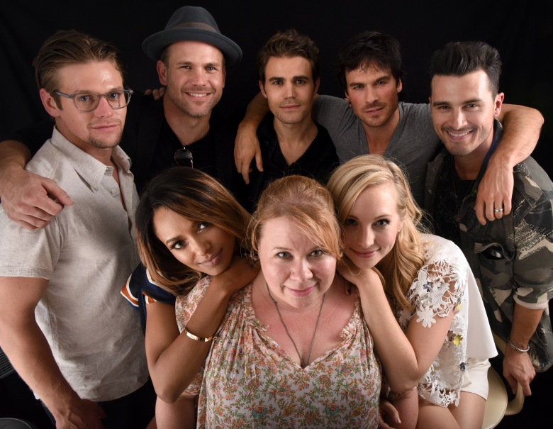 Paul Wesley, Ian Somerhalder, Matthew Davis, Michael Malarkey, Zach Roerig, Katerina Graham, Candice King and Julie Plec from the cast of 'The Vampire Diaries'Portrait Studio, Day 3, Comic-Con International, San Diego, USA - 23 Jul 2016