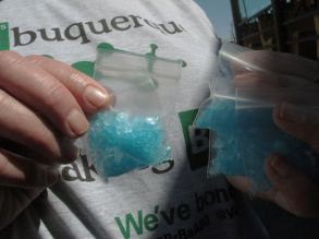 "A bag of blue ""meth"" candy is show as Albuquerque tourists officials get ready for an event celebrating the premiere of the final season of the AMC television series ""Breaking Bad."" The show was filmed in Albuquerque and has sparked interests in this Southwestern city from tourists. Local businesses also have sought to cash in on the show's popularityBreaking Bad Albuquerque, Albuquerque, USA"