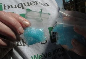"""A bag of blue """"meth"""" candy is show as Albuquerque tourists officials get ready for an event celebrating the premiere of the final season of the AMC television series """"Breaking Bad."""" The show was filmed in Albuquerque and has sparked interests in this Southwestern city from tourists. Local businesses also have sought to cash in on the show's popularityBreaking Bad Albuquerque, Albuquerque, USA"""