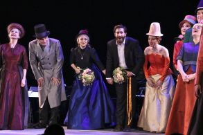 Penny Fuller, Robert Sean Leonard, Annaleigh Ashford, Jake Gyllenhaal and Erin Davie'Sunday in the Park With George' play opening night, Curtain Call, New York, USA - 23 Feb 2017
