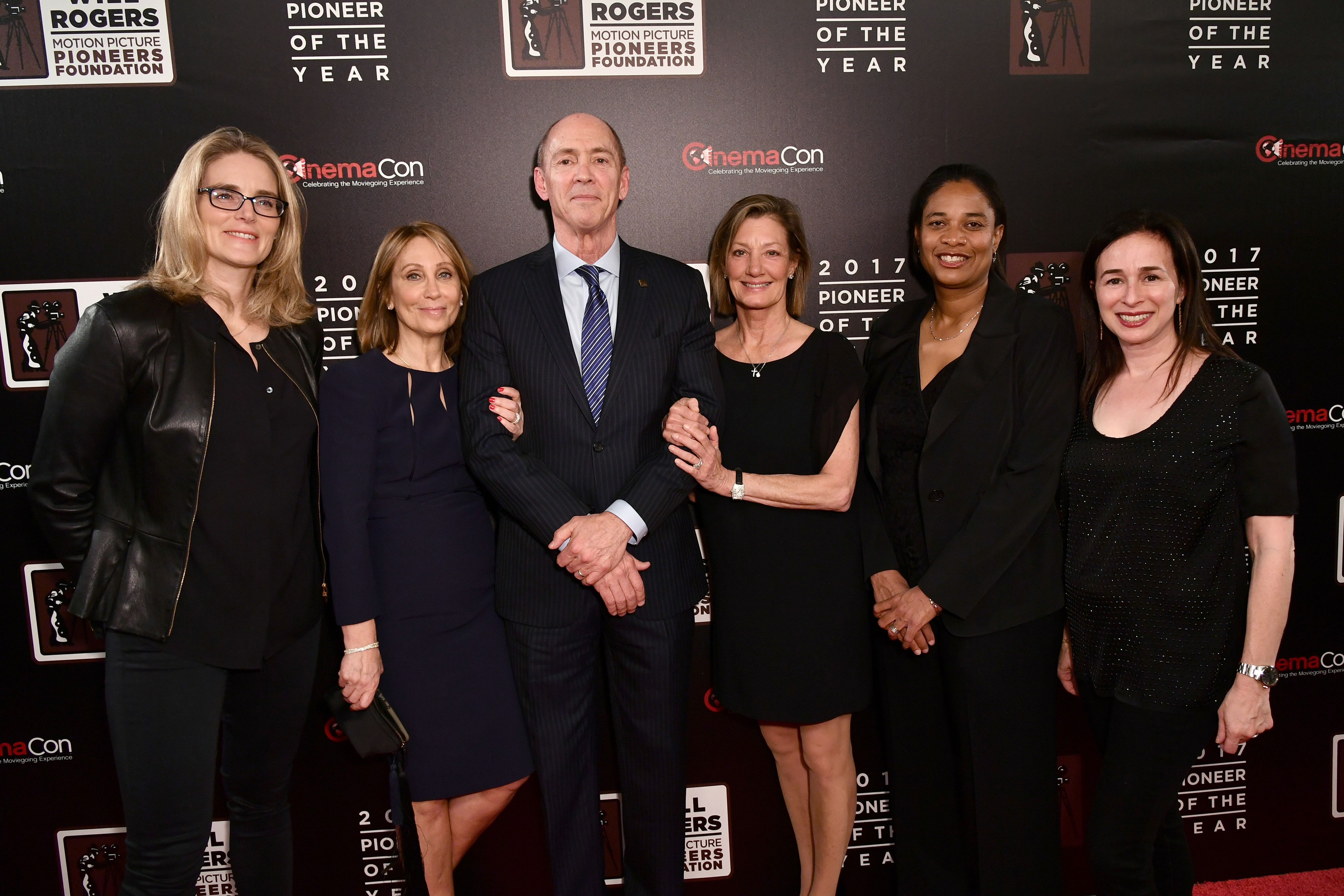 Emma Watts, Stacey Snider, Chris Aronson, Elizabeth Gabler, Vanessa Morrison and Pam LevinePioneer of the Year dinner, Arrivals, CinemaCon, Las Vegas, USA - 29 Mar 2017