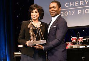 Cheryl Boone Isaacs and David OyelowoPioneer of the Year dinner, CinemaCon, Las Vegas, USA - 29 Mar 2017