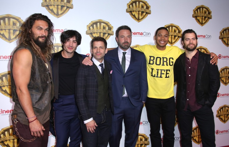 Jason Momoa, Ezra Miller, Zack Snyder, Ben Affleck, Ray Fisher and Henry CavillWarner Bros. Pictures presentation, Arrivals, CinemaCon, Las Vegas, USA - 29 Mar 2017