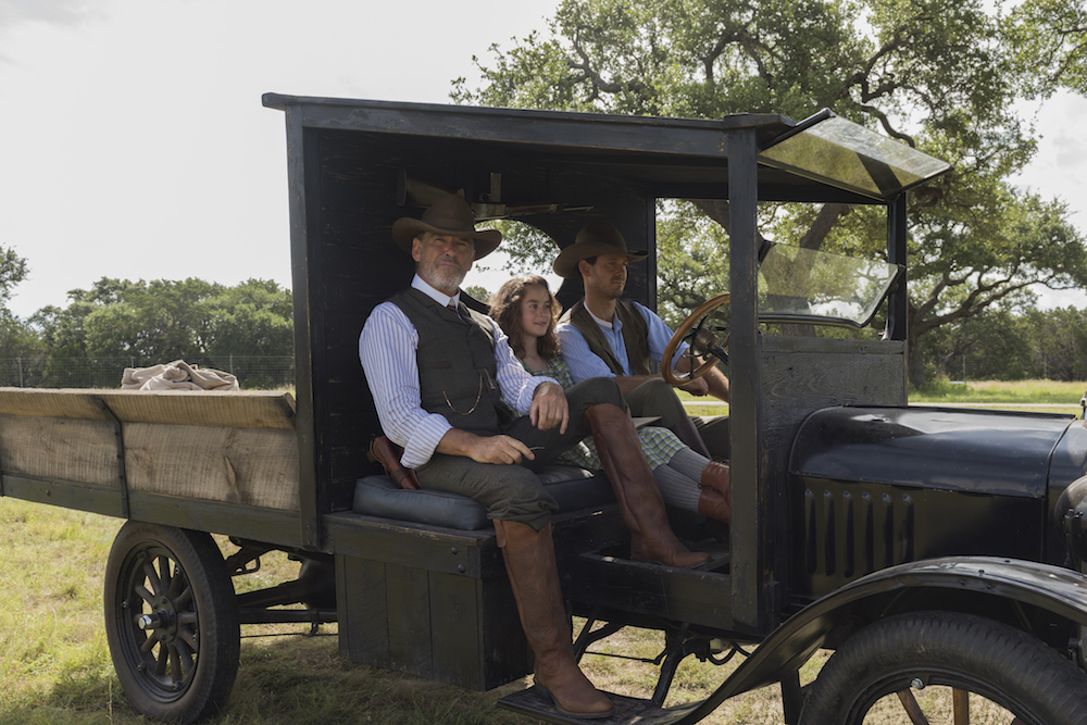 Pierce Brosnan as Eli McCullough, Sydney Lucas as Jeannie McCullough, Henry Garrett as Pete McCullough - The Son _ Season 1, Episode 1 - Photo Credit: Van Redin/AMC